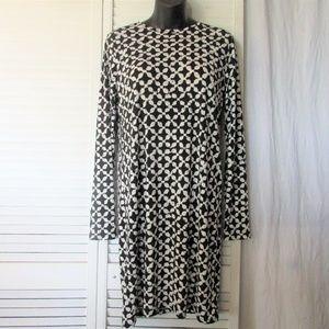 M Michael Kors black white stretch poly dress M